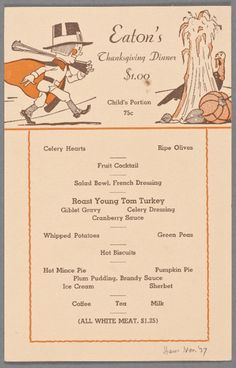Vintage Thanksgiving Menu: 1937
