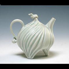 Des Moines Arts Festival - Celadon Porcelain Teapot - Handmade Pottery Teapot by Roberta Polfus - Contemporary Functional Art Pottery Pottery Teapots, Ceramic Teapots, Porcelain Ceramics, China Porcelain, Pottery Art, Pottery Lessons, Teapots And Cups, Teacups, Teapots Unique