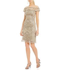 Tadashi Shoji Off-The-Shoulder Metallic Lace Dress Metallic Cocktail Dresses, Womens Cocktail Dresses, Tan Dresses, Dresses For Work, Formal Dresses, Tadashi Shoji, Stunning Women, Metallic Lace, Lace Dress