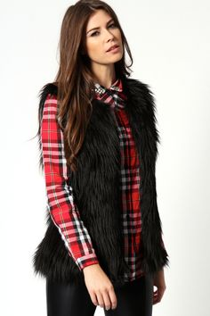 Shop boohoo's range of womens and mens clothing for the latest fashion trends you can totally do your thing in, with of new styles landing every day! Pear Shape Fashion, Coats For Women, Jackets For Women, Black Fur Vest, Faux Fur Gilet, Plaid Shirt Outfits, Winter Vest, Fall Jackets, Fall Looks