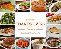 15 Favorite Thanksgiving (or Christmas) Recipes - pumpkin pie and cheesecake, seitan roast, green bean casserole, and more. All vegan and low fat!