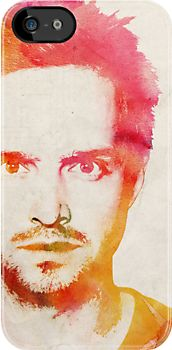 Jesse Pinkman Watercolor Design by nibblejax...watercolor texture imposed under a black and white graphic...