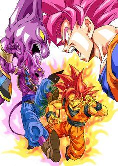 DBZ Super Saiyan God Goku vs Beerus the Destroyer! Anime Echii, Fanarts Anime, Anime Comics, Anime Naruto, Ssjg Goku, Goku Vs Beerus, Dragon Ball Z, Thundercats, Akira