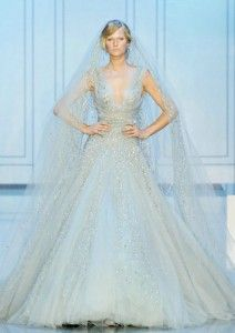 Elie Saab blue wedding gown 2012.   The veil is the big interest here Nora - this offers a sleeveless option