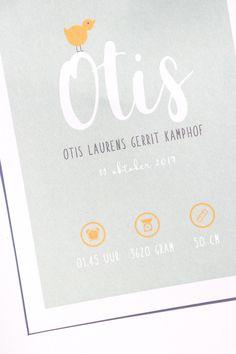 Zachtgroen met okergeel geboortekaartje van Otis. Ontwerp door Leesign - www.leesign.nl #leesign #geboortekaart #geboortekaartje #okergeel #zachtgroen #geboortekaartjes #jongen #otis #birthcard #birthannouncement Baby Invitations, Invitation Cards, Baptism Cards, Baby Birth, Baby Cards, Creative Cards, Invitation Design, Baby Boom, Baby Shower