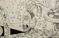 How much detail can be packed into a single drawing you ask? Your answer lies in this Ink drawing on paper by the Ukrainian super duo, Interesni Kazki...
