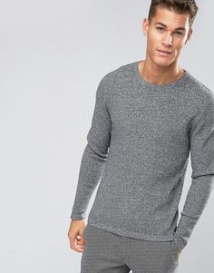 cdc943debe4a Get this Jack   Jones s knit pullover now! Click for more details.  Worldwide shipping. Jack   Jones Premium Slim Textured Knit - Grey  Jumper  by Jack Jones, ...