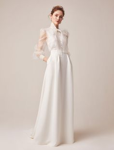 Wedding dress with sleeves Jesus Peiro reveals 2020 bridal collection., Wedding dress with sleeves Jesus Peiro reveals 2020 bridal collection. Click the link to view the full collection. Best Wedding Dresses, Bridal Dresses, Wedding Styles, Wedding Gowns, Lace Wedding, Wedding Outfits, Wedding Ideas, Bridal Separates, Blouse And Skirt