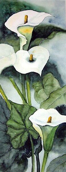"""""""Calla Lilie"""" Malerei von Maria Inhoven jetzt als Poster, Kunstdruck oder Grußkarte kaufen.."""