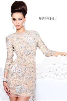Sherri Hill Prom Dresses 2014 | ... Prom Dresses 2014 :: 2014 Sherri Hill 21073 Long Sleeve Nude Lace Prom