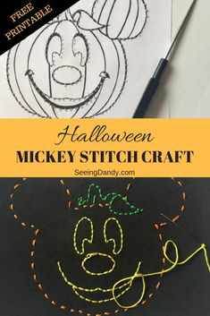 This Halloween stitch craft is easy to make and includes a pumpkin Mickey design. There's also two free printables! Perfect for Disney fans and school parties. #halloween #mickey #disney #diy #crafts #kids #halloweenparty #schoolparty #mickeymouse #disney