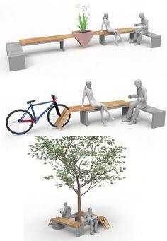 Landscape Architecture Design, Garden Landscape Design, Concept Architecture, Urban Architecture, Urban Furniture, Street Furniture, Furniture Design, Urban Design Plan, Public Space Design