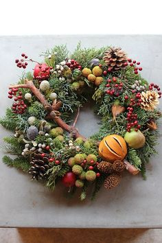 Make your fall wreath lush and full with berries, twigs and other natural materials. Halloween Yarn Wreath, Holiday Wreaths, Thanksgiving Decorations, Christmas Decorations, Holiday Decor, Autumn Decorating, Nature Decor, Christmas Inspiration, Artificial Flowers