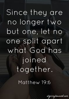 Since they are no longer two but one, let no one split apart what God has joined together. - Matthew 19:6 Fact or Fiction? Myth: My spouse and I are both Christians, and therefore divorce wi...