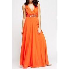 Vestido Fiesta Largo Naranja   Suen-Vestidos de fiesta