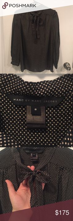 100% silk Marc by Marc Jacobs blouse 100% silk Marc by Marc Jacobs pussy-bow blouse. Black and white polka dots. Amazing quality. Elegant but also trendy. Good used condition. Negotiable. Need to clear out and am accepting offers Marc by Marc Jacobs Tops Blouses
