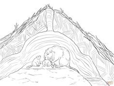 Beaver Coloring Pages - GetColoringPages.com Free Printable Coloring Pages, Free Coloring Pages, Coloring Sheets, Adult Coloring, Coloring Books, Printable Crafts, Printables, Pond Drawing, Beaver Animal