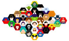 This is a set of vector images of superheroes, villains, and characters of popular culture illustrated by Simona Merlini. I like how she uses the hexagon as the main shape for each character and then changes the elements within. I like the simplistic approach, eliminating all the unnecessary bits.