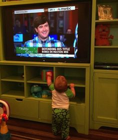 Angie Watson @Angiewatson1977  'One of the sweetest things I've experienced as a mom.Went straight 4 the TV when he heard daddy's voice!' #love pic.twitter.com/2wpU56gITm