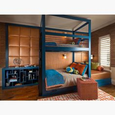 This custom bunk room is amazingCredit to Dallas Design Group. - Home Decor For Kids And Interior Design Ideas for Children, Toddler Room Ideas For Boys And Girls Used Furniture Stores, Furniture Near Me, Cool Furniture, Bedroom Furniture, Bedroom Decor, Bedroom Ideas, Furniture Makers, Modern Bedroom, Kids Bedroom