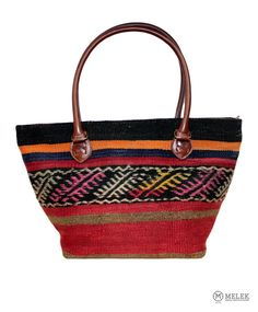 Handmade Turkish Ethnic Oriental Leather Kilim Shoulder Bag  #Classic