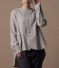 Front Buttons Long Hem Linen Shirt - /martafioretti/blusas-e-blusinhas/ over 400 BACK Fashion Mode, Boho Fashion, Fashion Design, Vetements Clothing, Western Tops, Mode Plus, Linen Blouse, Linen Dresses, Maxi Dresses