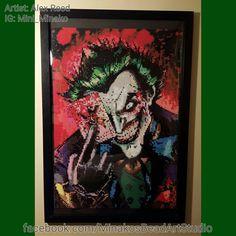 "The Joker 24"" x 36"" Perler Bead Portrait by MinakosBeadArtStudio"