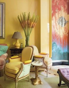 Jeffrey Bilhuber - sunny lacquered yellow room in Manhattan