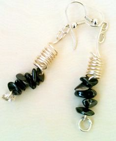 Semiprecious black stone earrings by WithMyJeans on Etsy, $7.99