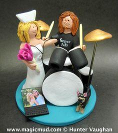 Nurse with Drummer Wedding Cake Topper http://www.magicmud.com  $235  1 800 231 9814 email  magicmud@magicmud.com  http://blog.magicmud.com  https://twitter.com/caketoppers         https://www.facebook.com/PersonalizedWeddingCakeToppers #wedding #cake #toppers  #custom #personalized #Groom #bride #anniversary #birthday#weddingcaketoppers#cake toppers#figurine#gift#wedding cake toppers #drummer#drumming#drum#percussionist#rocknroll#rockStar#rockGod#musician