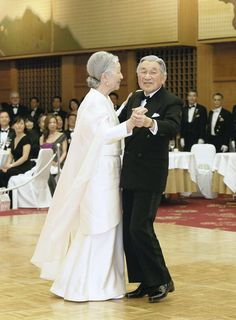 The Emperor and Empress of Japan dancing together in  his 80th birthday year