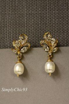 Gold Bridal Earrings Pearl Drop Earrings Crystal by simplychic93