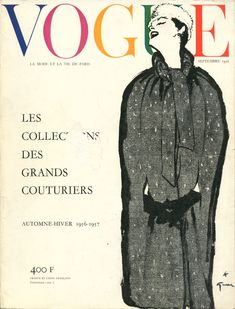 Vogue septembre 1956, Cape de Christian Dior en tweed, illustration Gruau