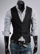 Black Buttons Cotton Blend Men's Vest