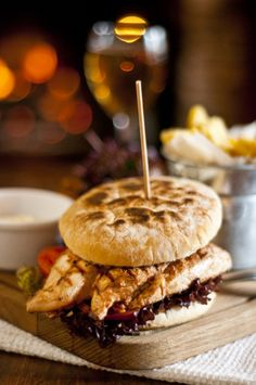 A Fully Loaded Chicken Burger, served with fresh home cut chips Dinner Menu, Burgers, Fries, Merry, Favorite Recipes, Beef, Dishes, Chicken, Cooking