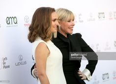 Actress Natalie Portman (L) and EMA President Debbie Levin attend the 27th Annual EMA Awards at Barker Hangar on September 23, 2017 in Santa Monica, California.