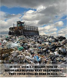 3.7 Million Tons of Disposable Diapers went to the landfills in 2010. DON'T DESTROY OUR WORLD