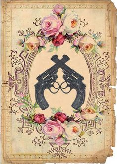 Guns Roses and Swallows - Custom Etsy Shop Package - Vintage Victorian Tattoo Inspired Shop Banner Avatar and Custom Shop Graphics. $14.99, via Etsy.