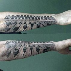 Check out Cool dj tattoo or other illusion forearm tattoo designs that will blow your mind, tattoo ideas that will be your next inspiration. Dj Tattoo, Real Tattoo, Get A Tattoo, Tattoo Studio, Music Tattoos Men, Music Tattoo Designs, Tattoos For Guys, Forearm Tattoo Design, Forearm Tattoo Men