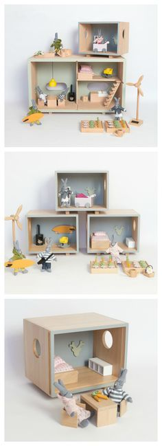 Ecological Wooden Toys | We love this wooden eco-friendly doll house with all the fixtures and toys to go with it.