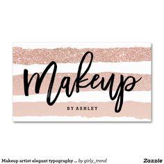 Makeup artist elegant typography rose gold stripes business card