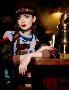 Lily Collins for Karl Lagerfeld in Barrie Knitwear Campaign