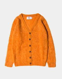 Present Mohair Cardigan in Orange V-Neck Cardigan Made in Scotland