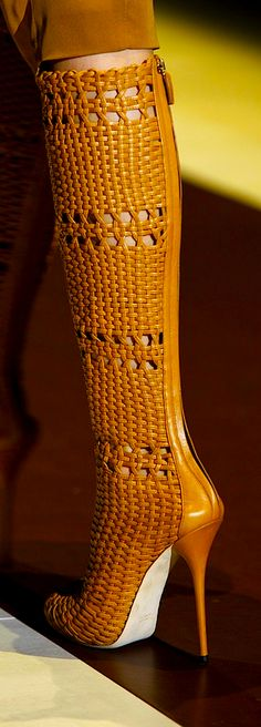 GUCCI Woven leather boots - Spectacular!! Via Bibeline Designs