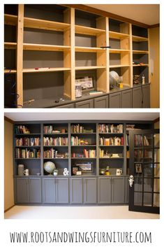 ideas home library diy bookshelves built ins Diy Built In Shelves, Custom Bookshelves, Bookshelves Built In, Bookcases, Bookshelf Design, Build In Bookshelves, Built In Shelves Living Room, Basement Built Ins, Floor To Ceiling Bookshelves
