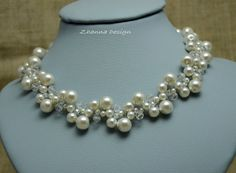 Bridal Crochet Necklace White Glass Pearls by CyShell on Etsy