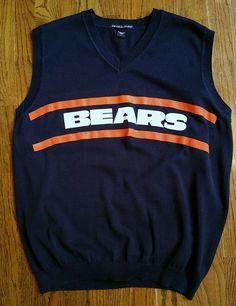 Mike Ditka Chicago Bears Football Sweater v-neck Golf Vest Men Large blue cotton #DevonJones #ChicagoBears