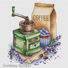 "Cross stitch design ""Coffee grinder with lavender"" #sa_stitch #sa_pattern #pattern"