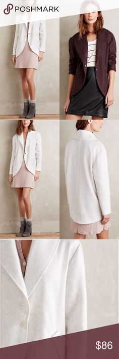 NWT Anthropologie grey Fleeced Cocoon Jacket S NEW WITH TAGS -- Anthropologie Lilka Fleeced Cocoon Jacket is like no other fleece you own! Perfectly smooth (not bumpy like typical fleece) and perfectly tailored, you can be comfy while still looking put together in a variety of looks. Very versatile! The color looks pure white in the stock pictures but has some heathered gray in person. See measurements in picture 4 and feel free to ask for other measurements if needed 💗 Size S Anthropologie…
