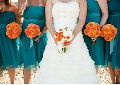 A beautiful orange and turquoise wedding.